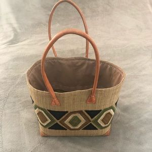 Brown Straw Tote Beach Bag with Pull String